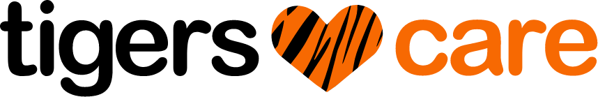 Tigers Care logo, featuring a tiger striped heart in the middle.