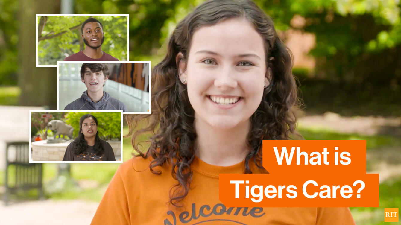 A female RIT student wearing a Tigers Care shirt with a text banner that reads: What is Tigers Care?