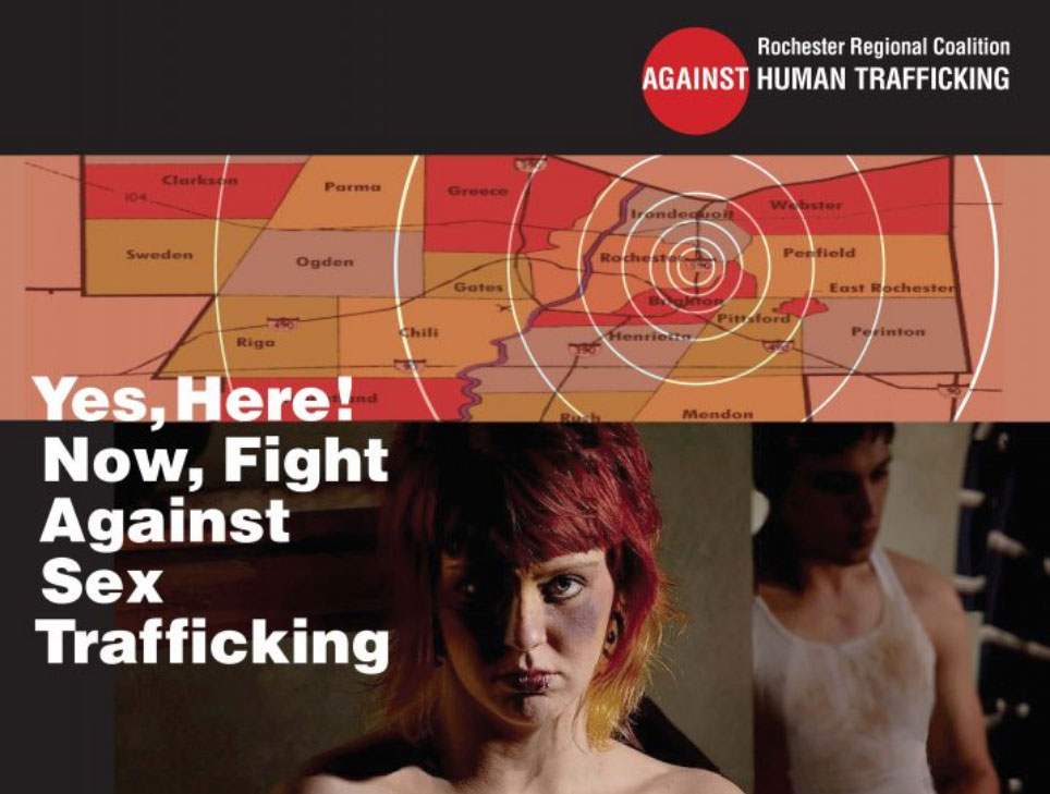 "a graphic of a bruised women that says ""Yes, Here! Now, Fight Against Sex Trafficking"""