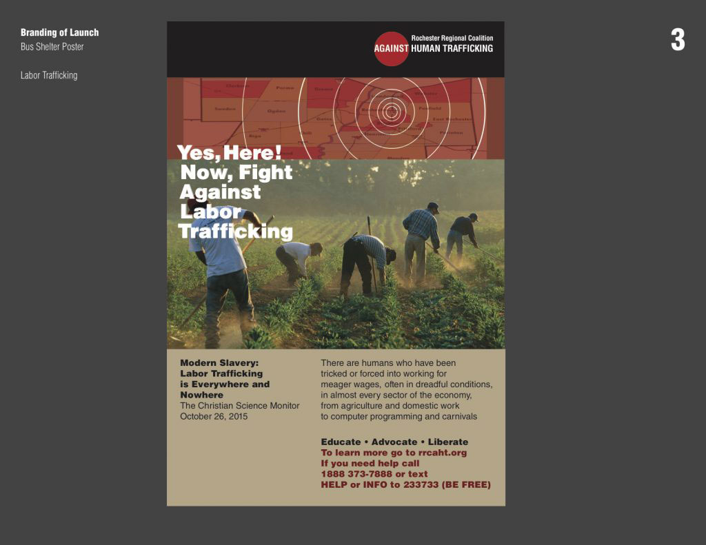 "a graphic of people working in a field  that says ""Yes, Here! Now, Fight Against Labor Trafficking"""